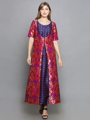 purple woven art silk stitched kurta sets