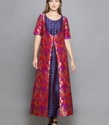 purple woven art silk stitched kurta sets