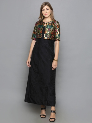 black woven chanderi stitched kurta sets