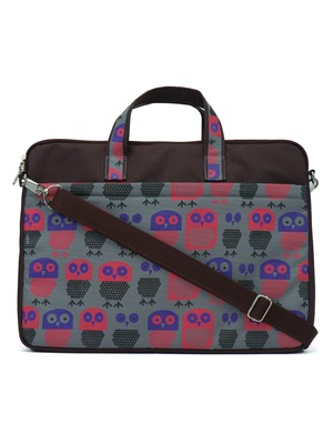 Strix Brown and Multicoloured Printed Polyester Laptop bag