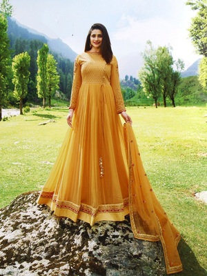 Yellow embroidered santoon salwar