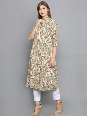 cream printed cotton stitched kurta-sets