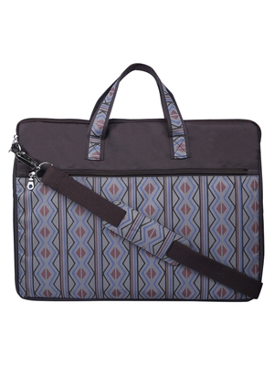 Neon Brown and Blue Printed Polyester Laptop bag