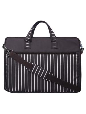 Streak Brown Striped Polyester Laptop bag