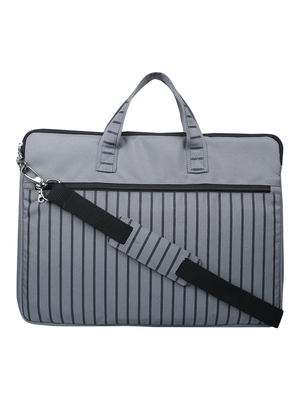 Streak Grey Striped Polyester Laptop bag