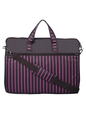 Streak Brown and Pink Striped Polyester Laptop bag