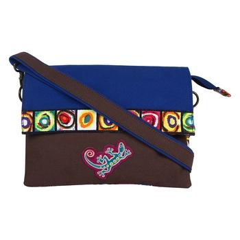 Florid Blue Canvas Sling Bag