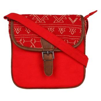 Nava Red Canvas Sling Bag