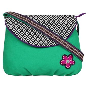 Geomet Green Canvas Sling Bag
