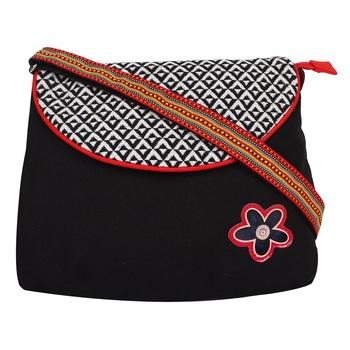 Geomet Black Canvas Sling Bag