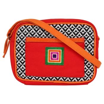 Minikins Orange Jacquard Sling Bag
