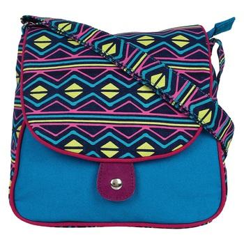 Neon Blue Canvas Sling Bag