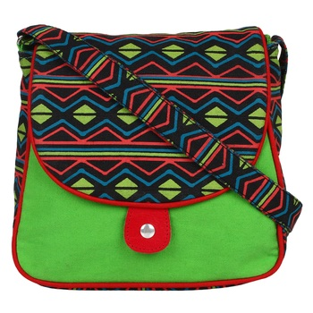 Neon Green Canvas Sling Bag