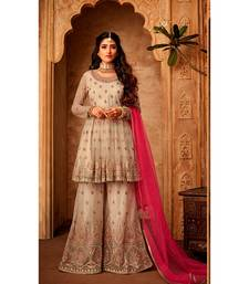 cream embroidered net semi stitched salwar with dupatta