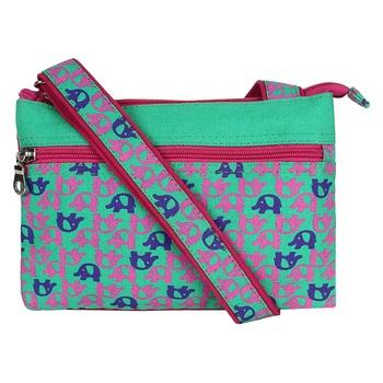 Minikins Green Canvas Sling Bag