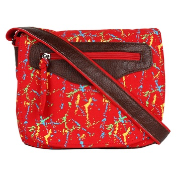 Neon Red Canvas Sling Bag