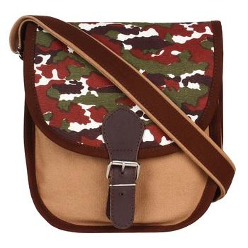 Redherring Brown Canvas Sling Bag