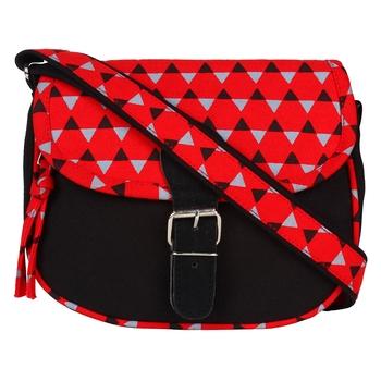 Geomet Red Canvas Sling Bag