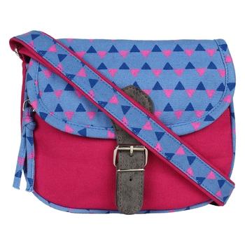 Geomet Pink Canvas Sling Bag
