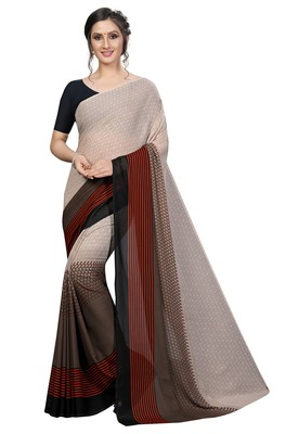 Brown printed faux georgette saree with blouse