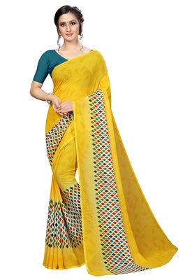 Mustard printed faux georgette saree with blouse