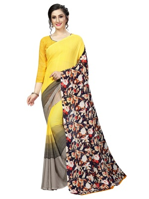 Yellow printed faux georgette saree with blouse