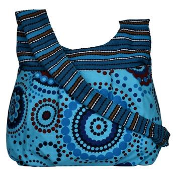 Orb Blue Canvas Hobo Bag