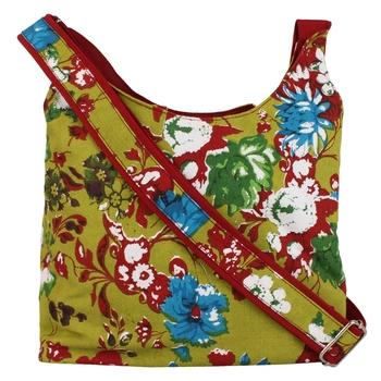 Flora Green Canvas Sling Bag