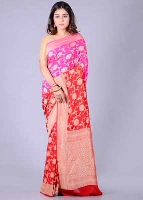 Red hand woven pure chiffon saree with blouse