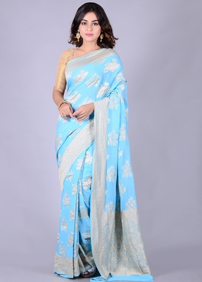 Blue hand woven pure chiffon saree with blouse