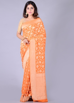 Orange hand woven pure chiffon saree with blouse