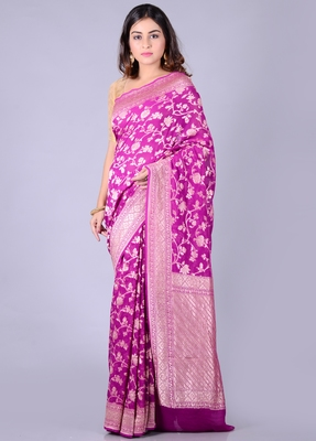 Magenta hand woven pure chiffon saree with blouse