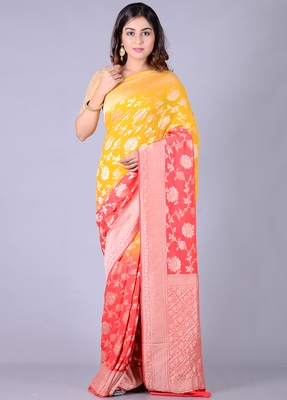 Multicolor hand woven pure chiffon saree with blouse