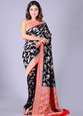 Black hand woven pure chiffon saree with blouse