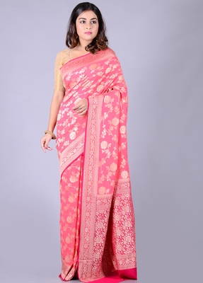 Coral hand woven pure chiffon saree with blouse