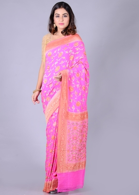 Pink hand woven pure chiffon saree with blouse