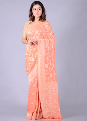 Peach hand woven pure chiffon saree with blouse