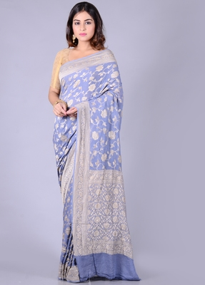 Grey hand woven pure chiffon saree with blouse