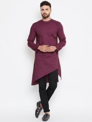 Maroon woven pure cotton men-kurtas