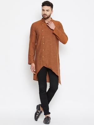 Brown woven pure cotton men-kurtas