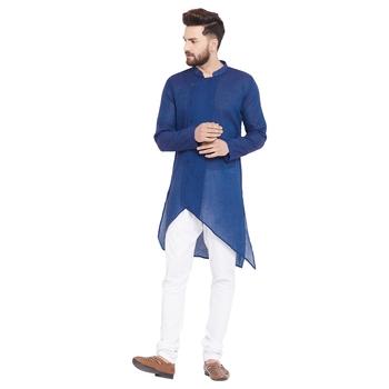 Blue woven pure cotton men-kurtas