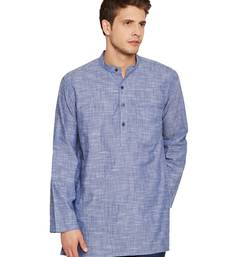 Blue woven pure cotton men-kurtas