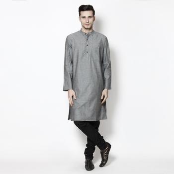 Grey woven pure cotton kurta-pajama