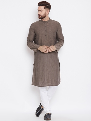 Grey woven pure cotton kurta-pajama