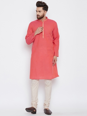 Red woven pure cotton kurta-pajama
