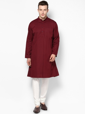 Maroon woven pure cotton kurta-pajama