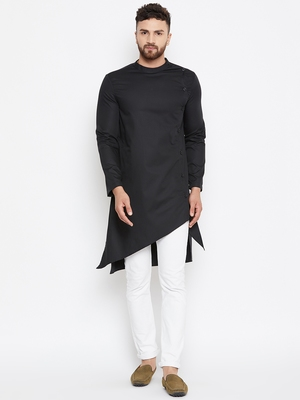 Black woven pure cotton men-kurtas