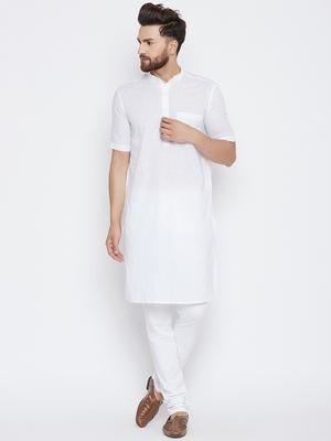 White woven pure cotton kurta-pajama