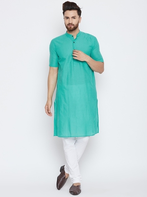 Turquoise woven pure cotton kurta-pajama