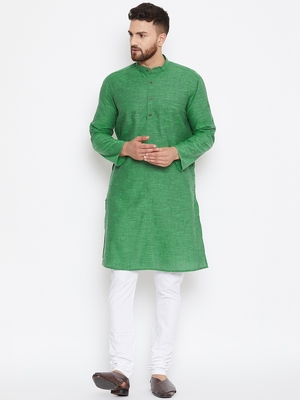 Green woven pure cotton kurta-pajama